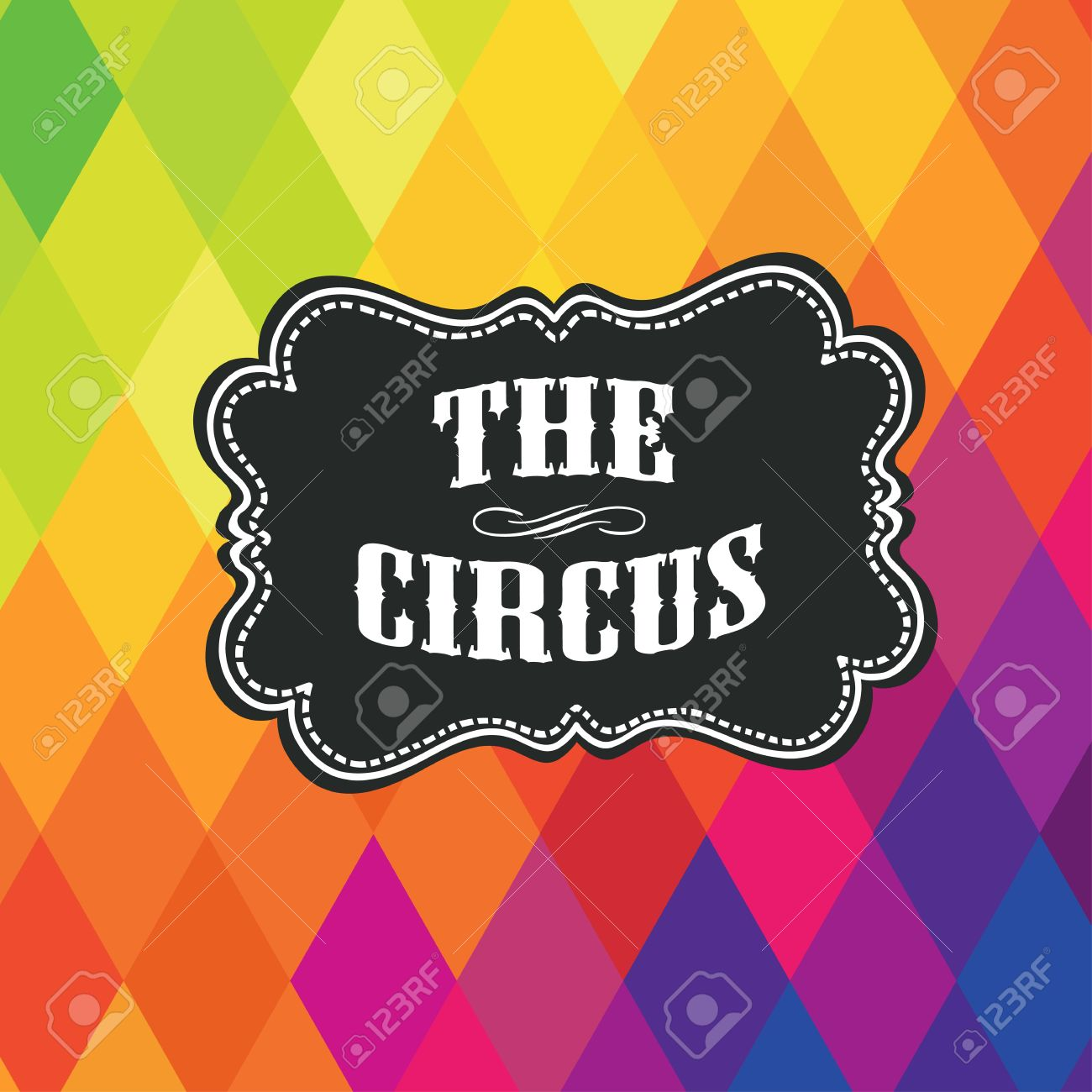Circus label on colored rhombus background. Vector - 19919532