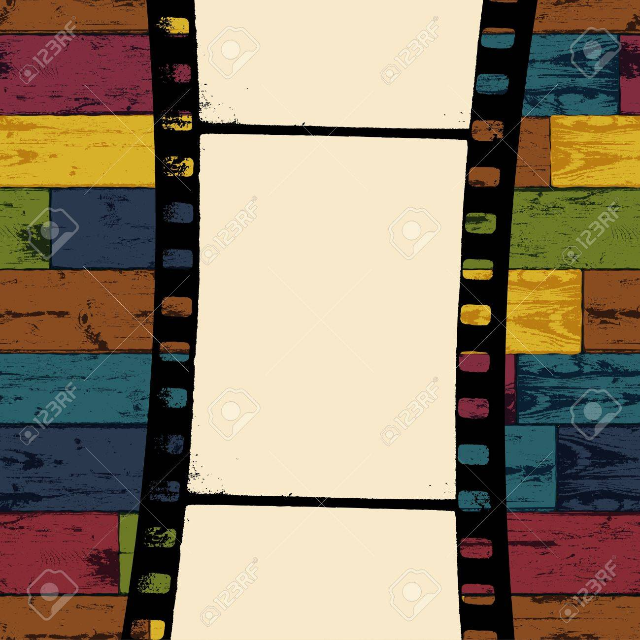 Film strip on colorful seamless wooden background. Vector, EPS10 - 19926126