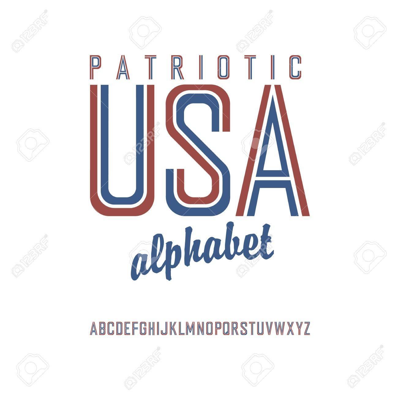 American flag themed alphabet. Vector - 19919542