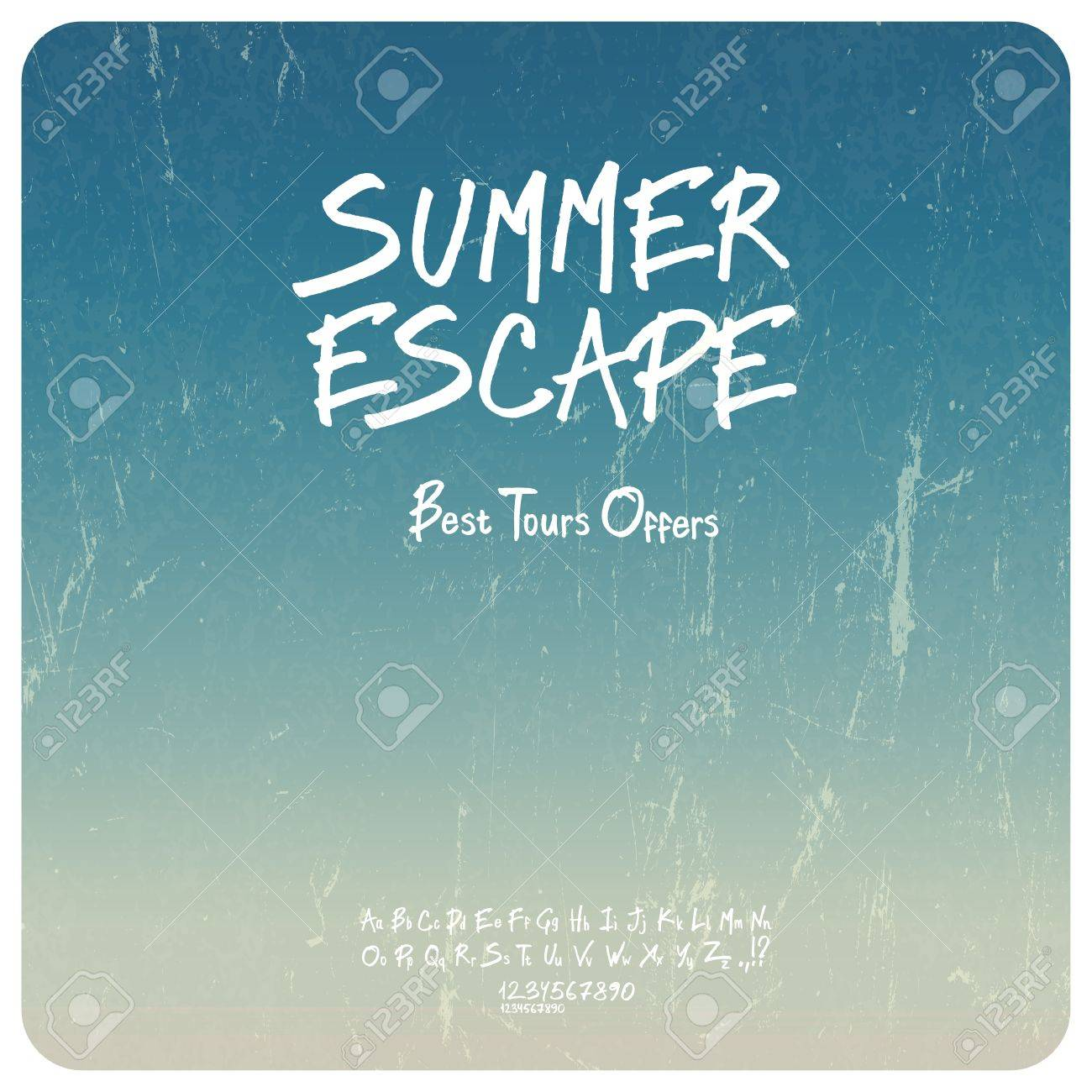 Summer travel set. Grunge background with hand-drawn alphabet. Vector Stock Vector - 19926124