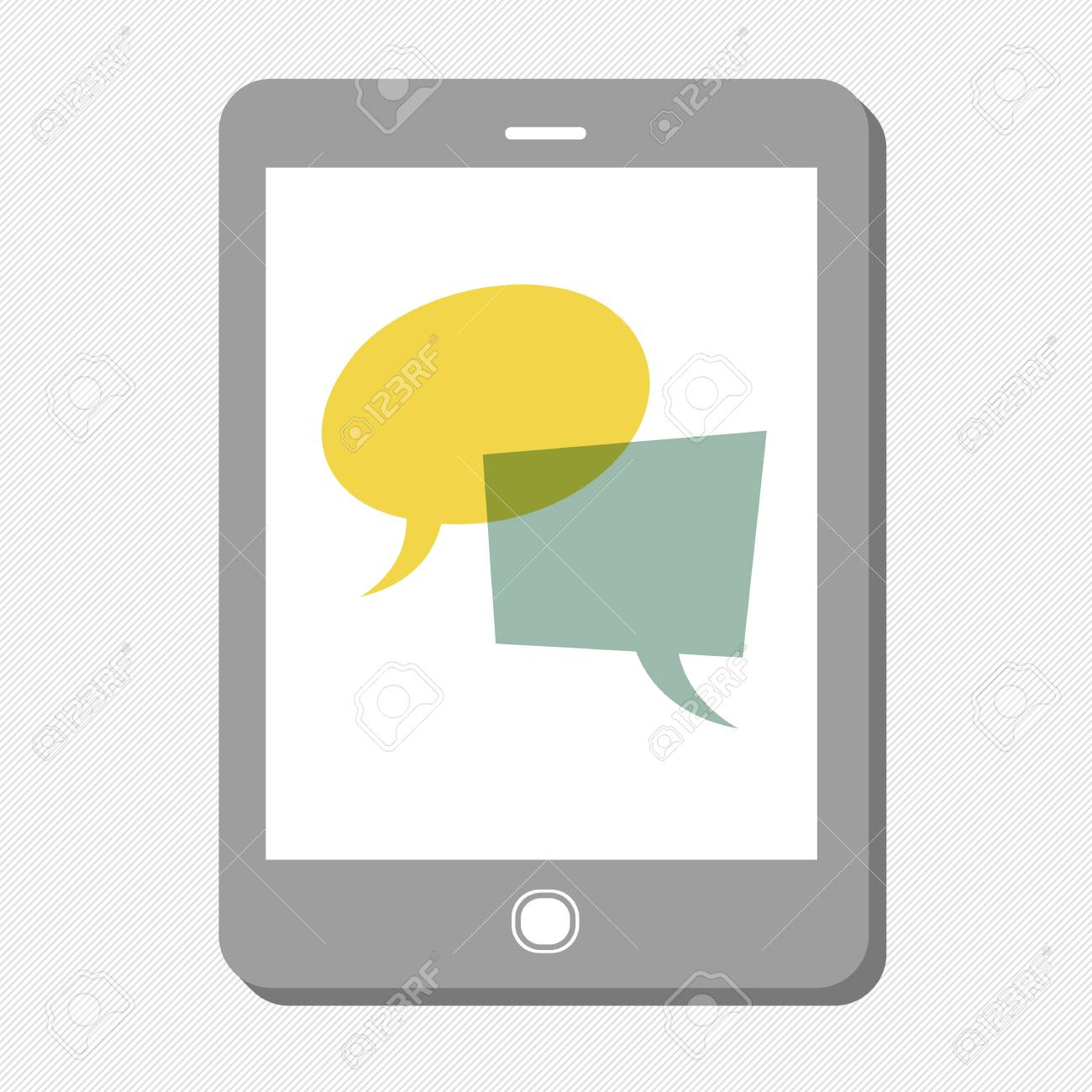 Tablet device with speech bubbles. Vector - 19919535