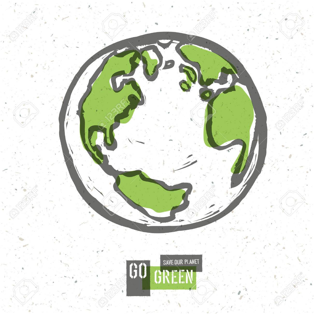 Go Green Concept Poster With Earth. Vector - 33733020