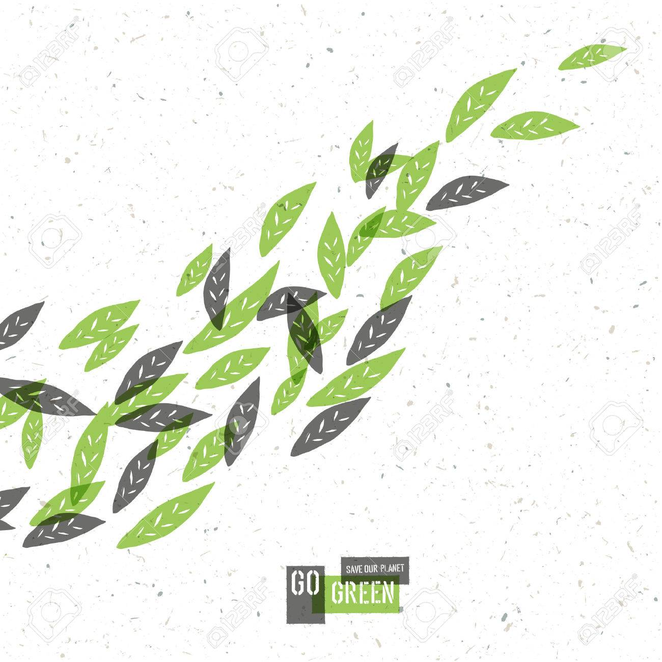 Go Green Concept Poster With Leaves. Vector - 33733528