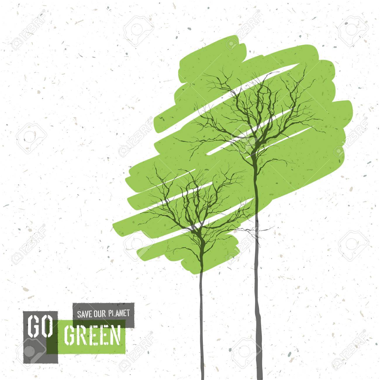 Go Green Concept Poster With Trees. Vector - 33733752