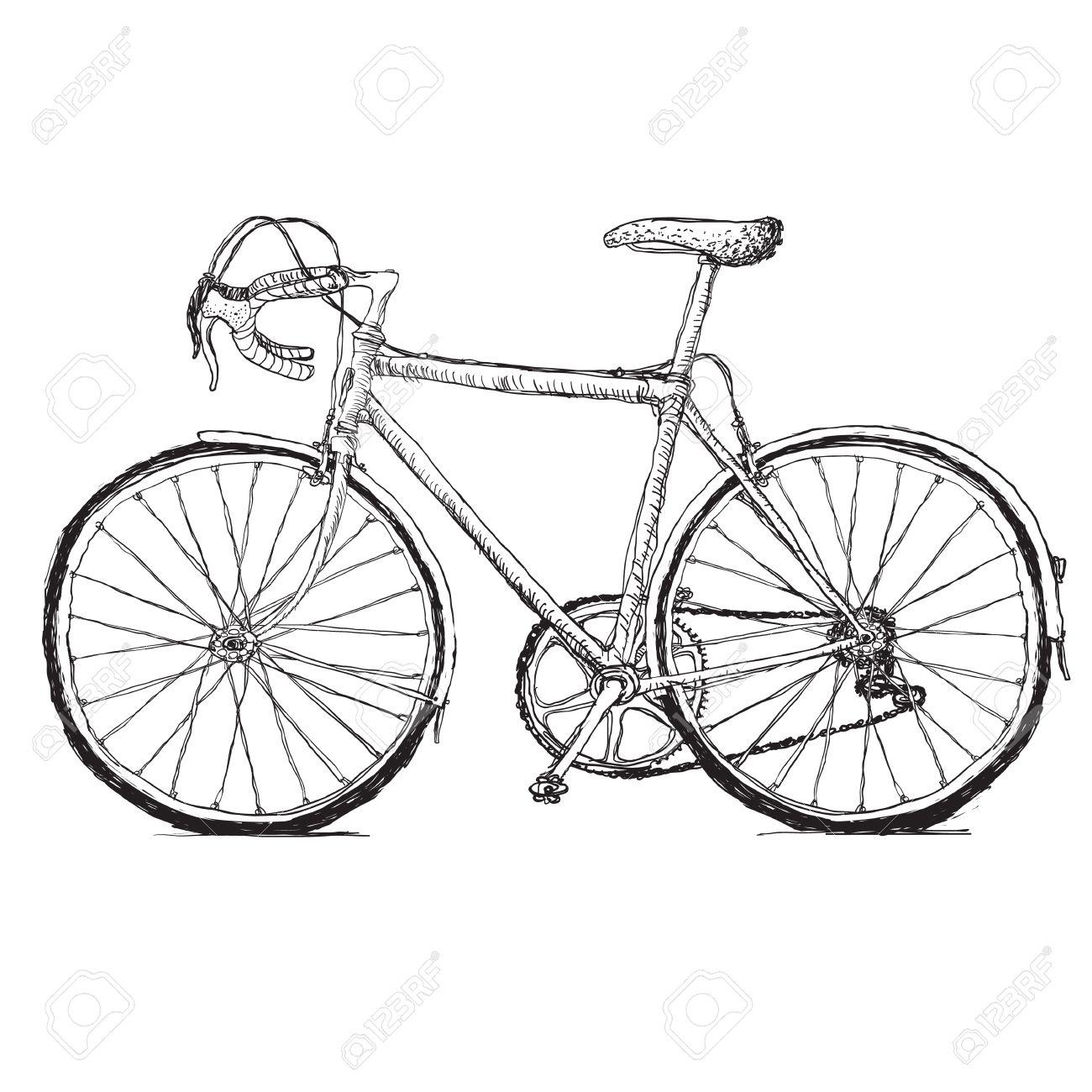 Vintage road bicycle hand drawn illustration - 34143423