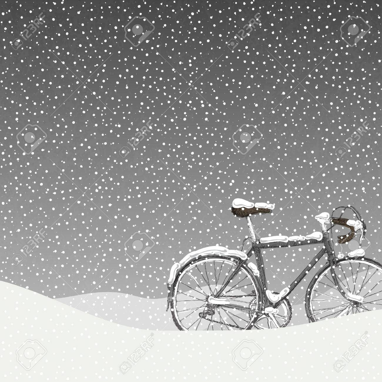 Snow Covered Bicycle Illustration, Calm Winter Scene - 34371520