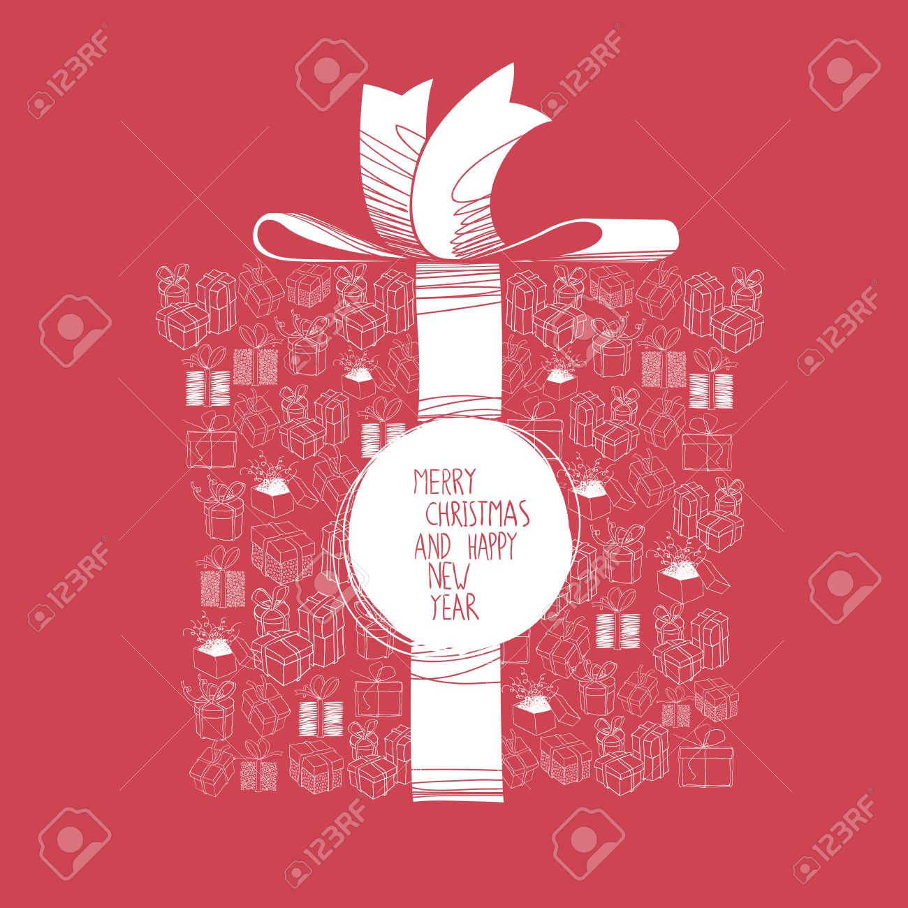 Merry christmas and happy new year greeting card template with merry christmas and happy new year greeting card template with a group of a xmas gift m4hsunfo