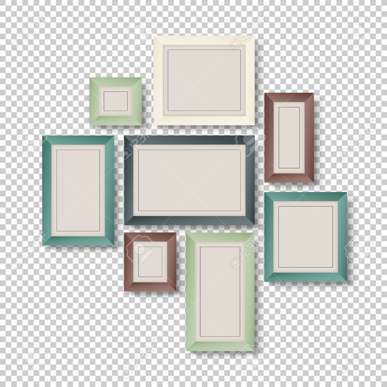 Group Of Colorful Frames On Transparent Background Royalty Free ...
