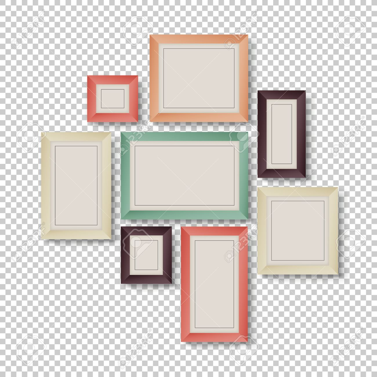 Group Of Frames On Transparent Background In Hipster Colors Royalty ...