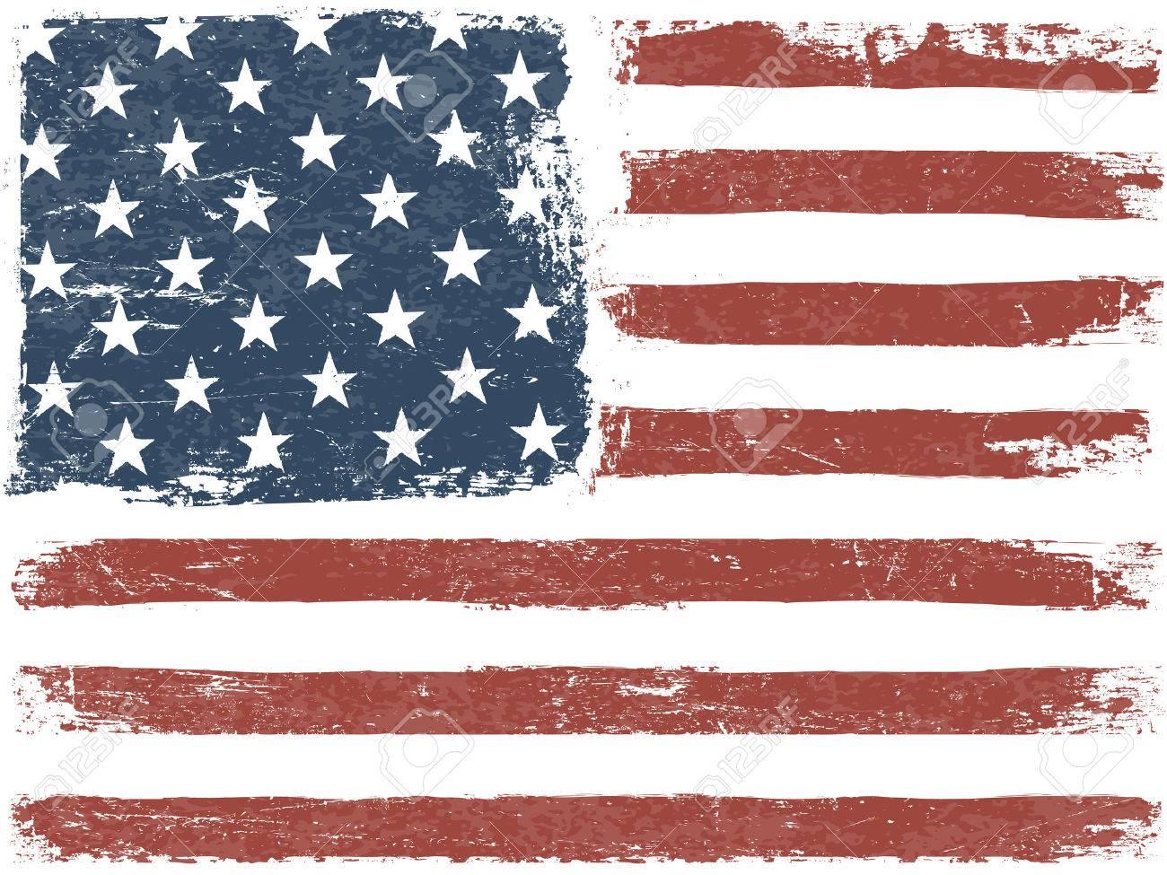 American Flag Grunge Background. Vector Template. Horizontal orientation. - 53602695