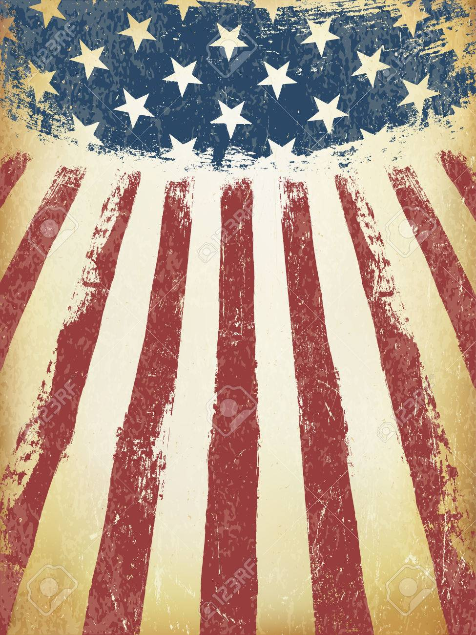 grunge aged american flag background vector template royalty free