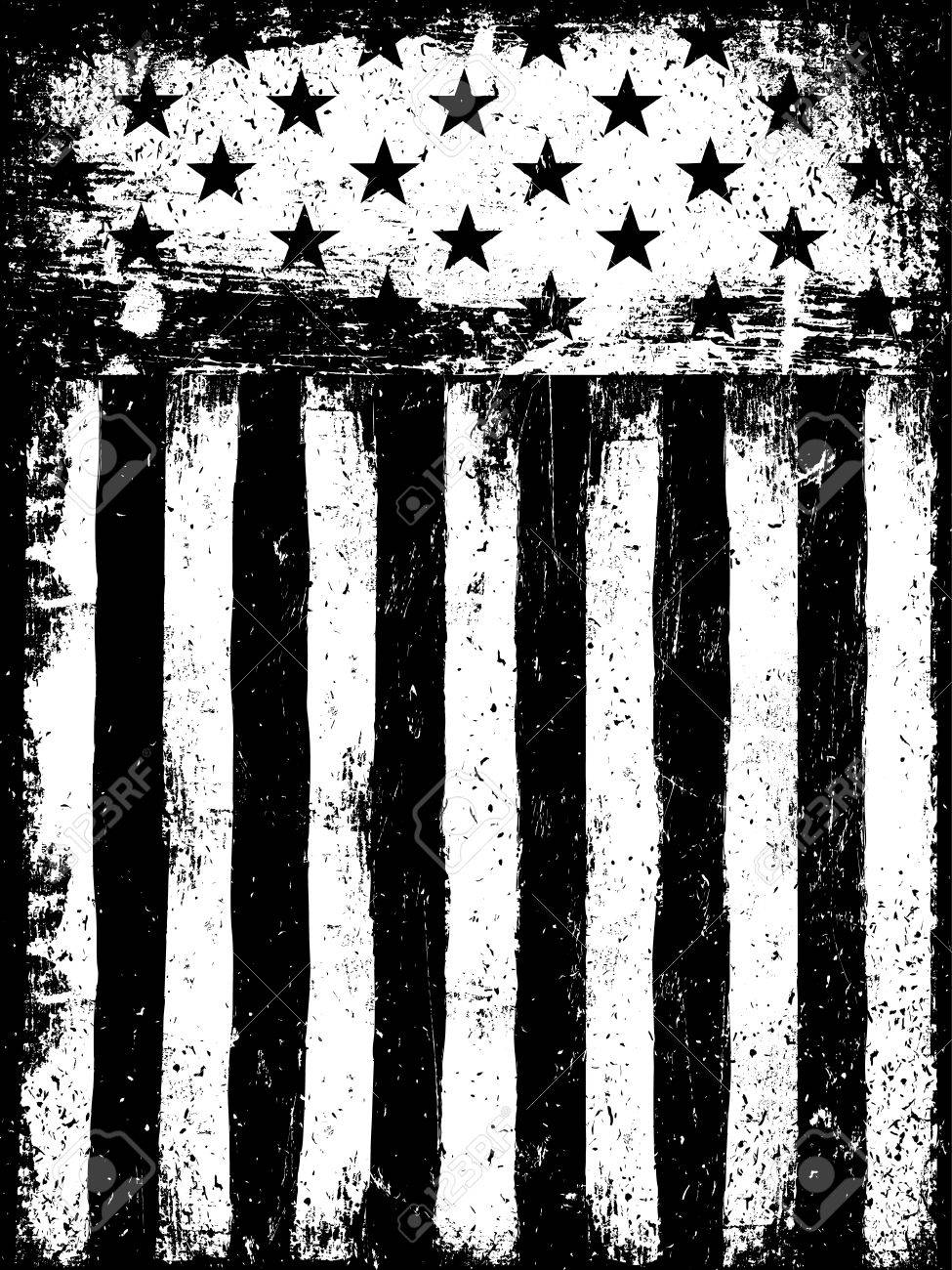05cebe8b6ab2 Monochrome Negative Photocopy American Flag Background. Grunge Aged Vector  Template.