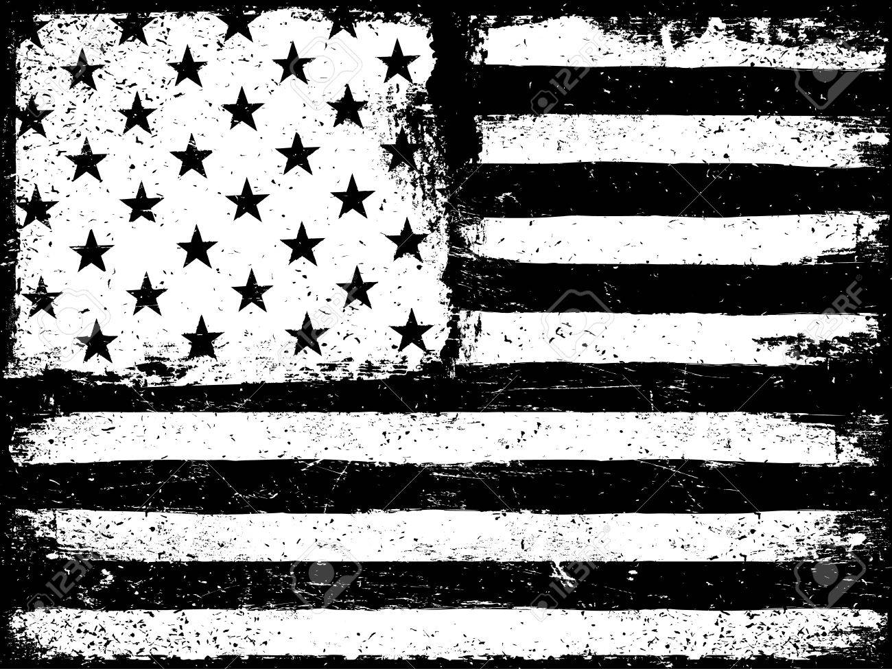 d3d44fcd24ea Monochrome Negative Photocopy American Flag Background. Grunge Aged  VectorTemplate. Horizontal