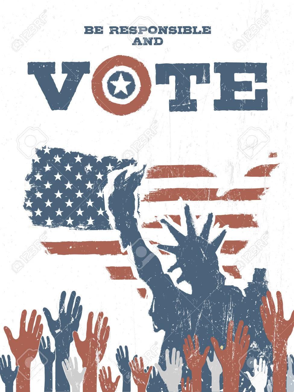 Verantwortlich Sein Und Wahlen Sie Auf Usa Karte Vintage