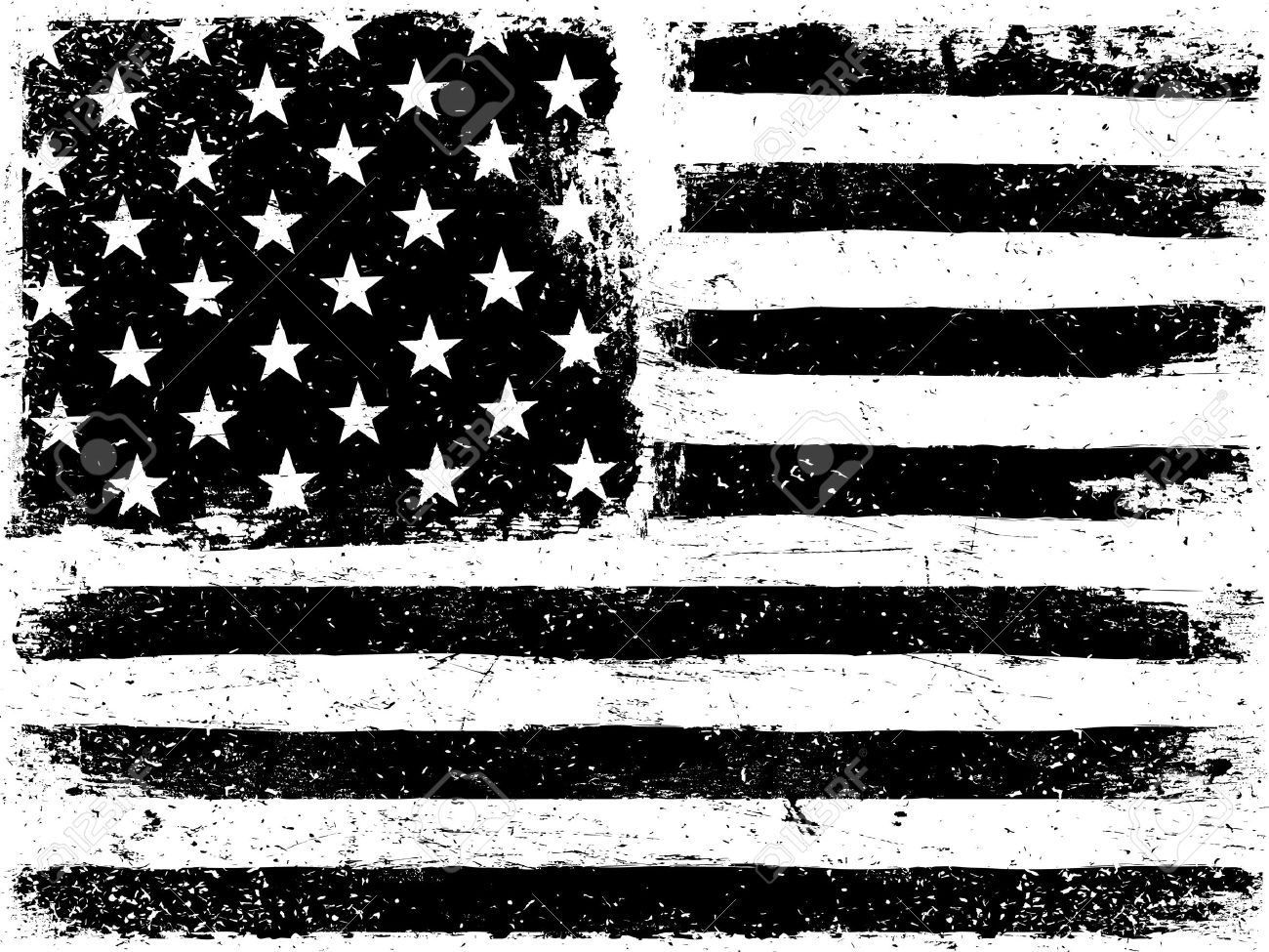 american flag background grunge aged vector template horizontal