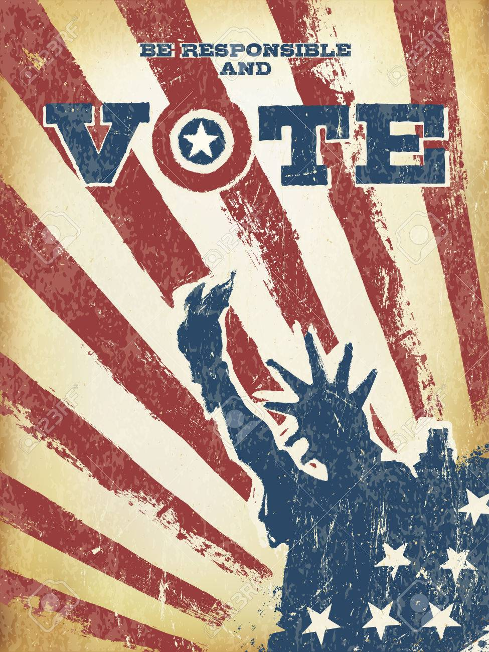 Be Responsible And Vote On USA Map Vintage Patriotic Poster - Free us map poster