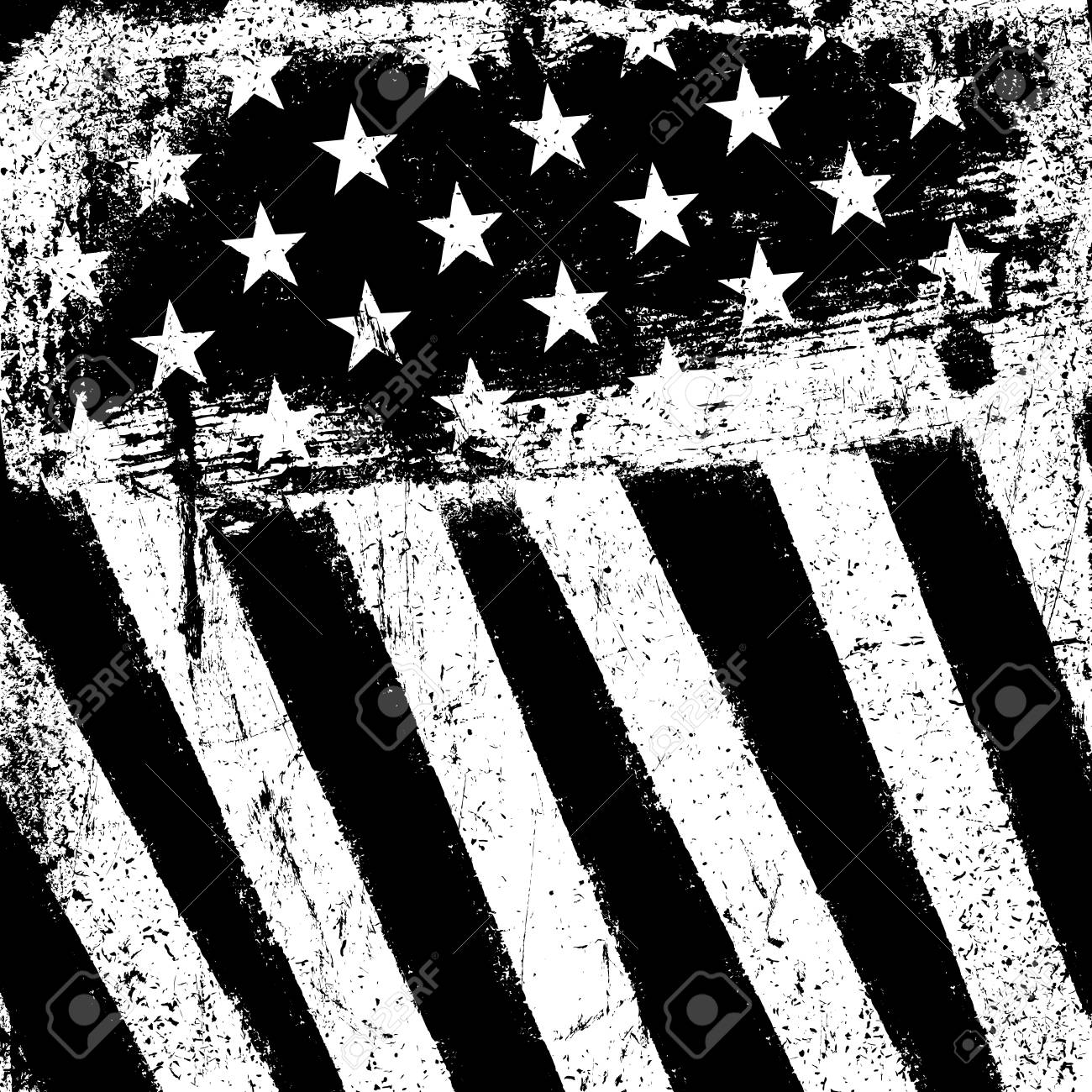 American Flag Background Grunge Aged Vector Template Monochrome