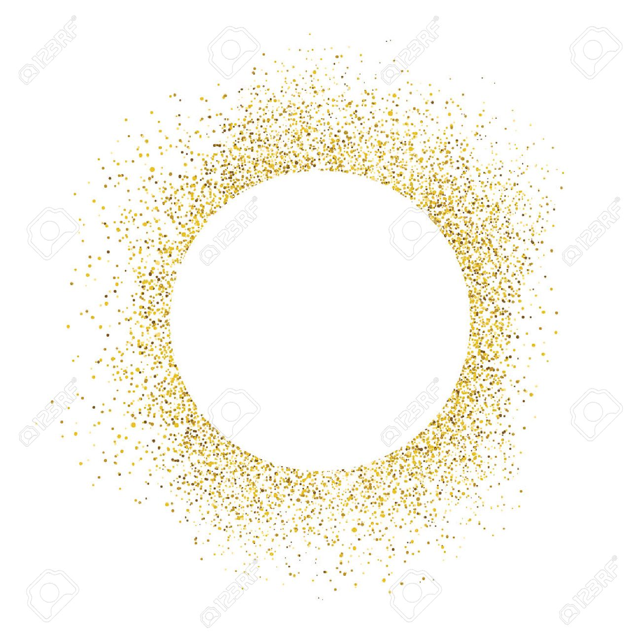 Gold sparkles on white background. White circle shape for text - 55248524