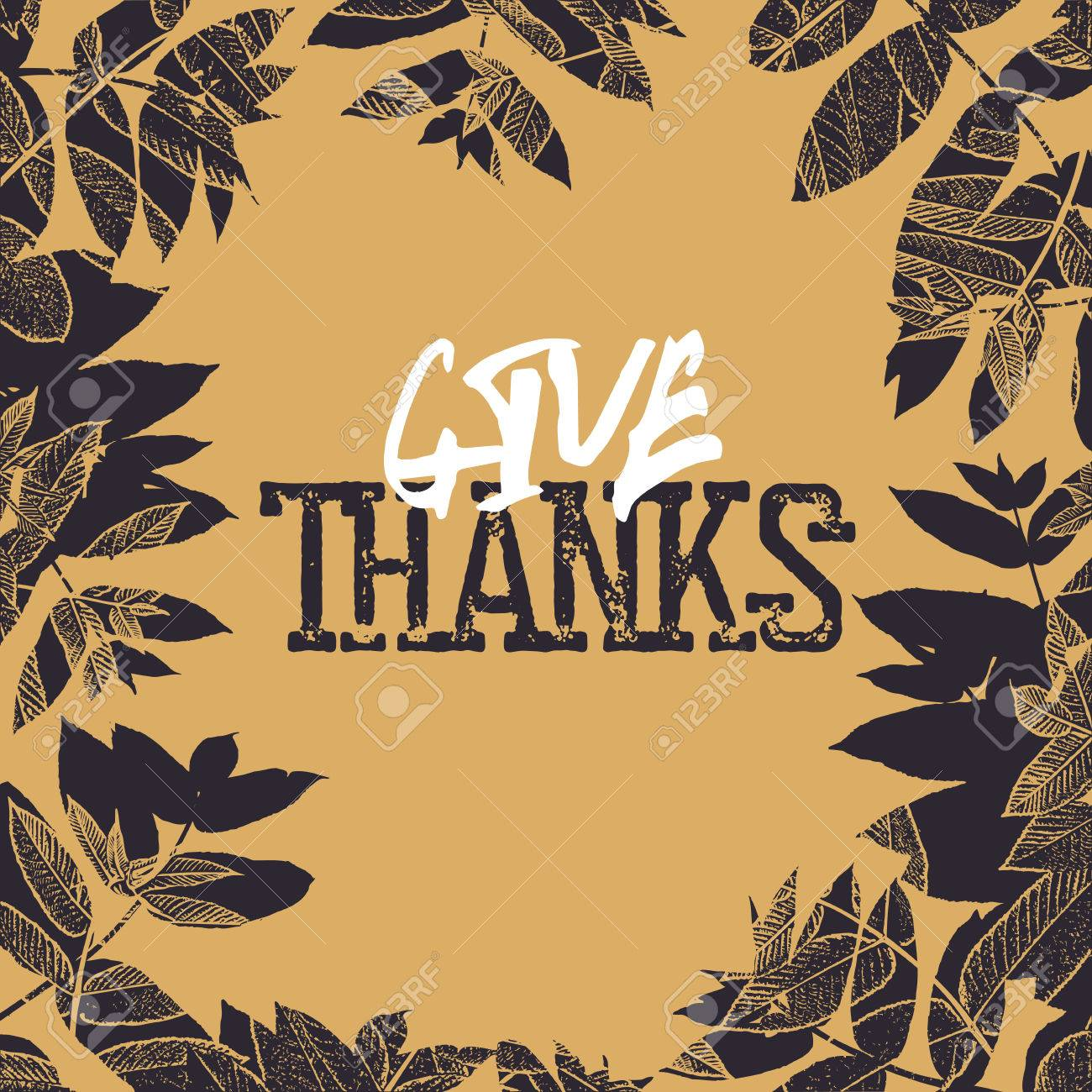 Happy Thanksgiving Retro Card Design Fallen Leaves For Vintage