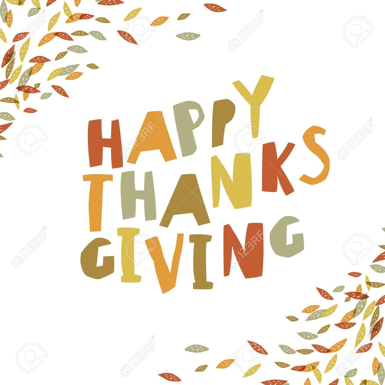 Happy thanksgiving card design paper cut letters and fallen happy thanksgiving card design paper cut letters and fallen leaves for holiday greeting cards m4hsunfo