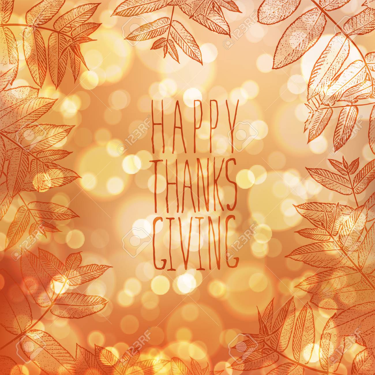 happy thanksgiving card design template blur autumn background