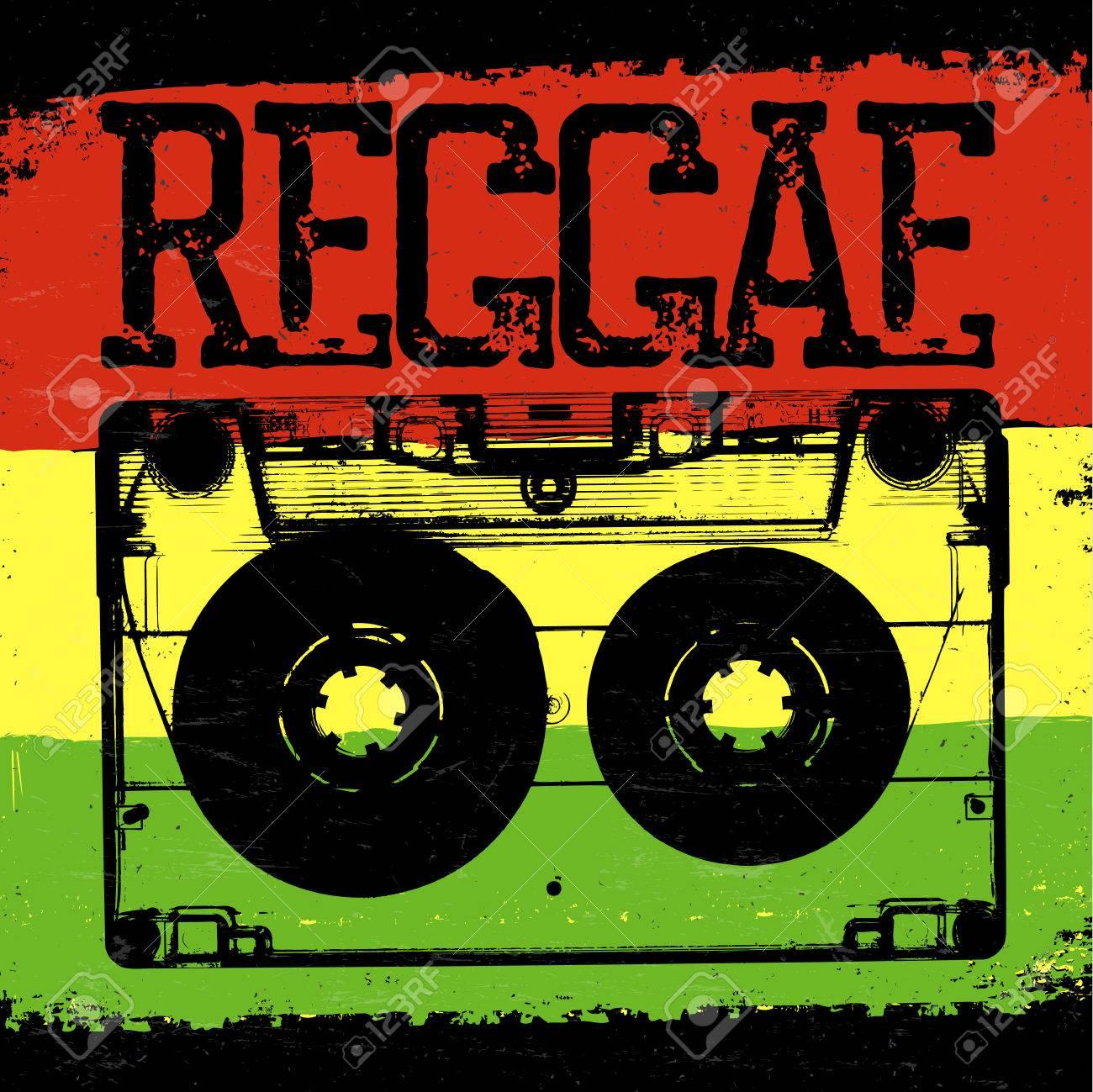 Audiocassette and Reggae lettering. Vector reggae design with audiocassette on rastafarian grunge background - 65265251