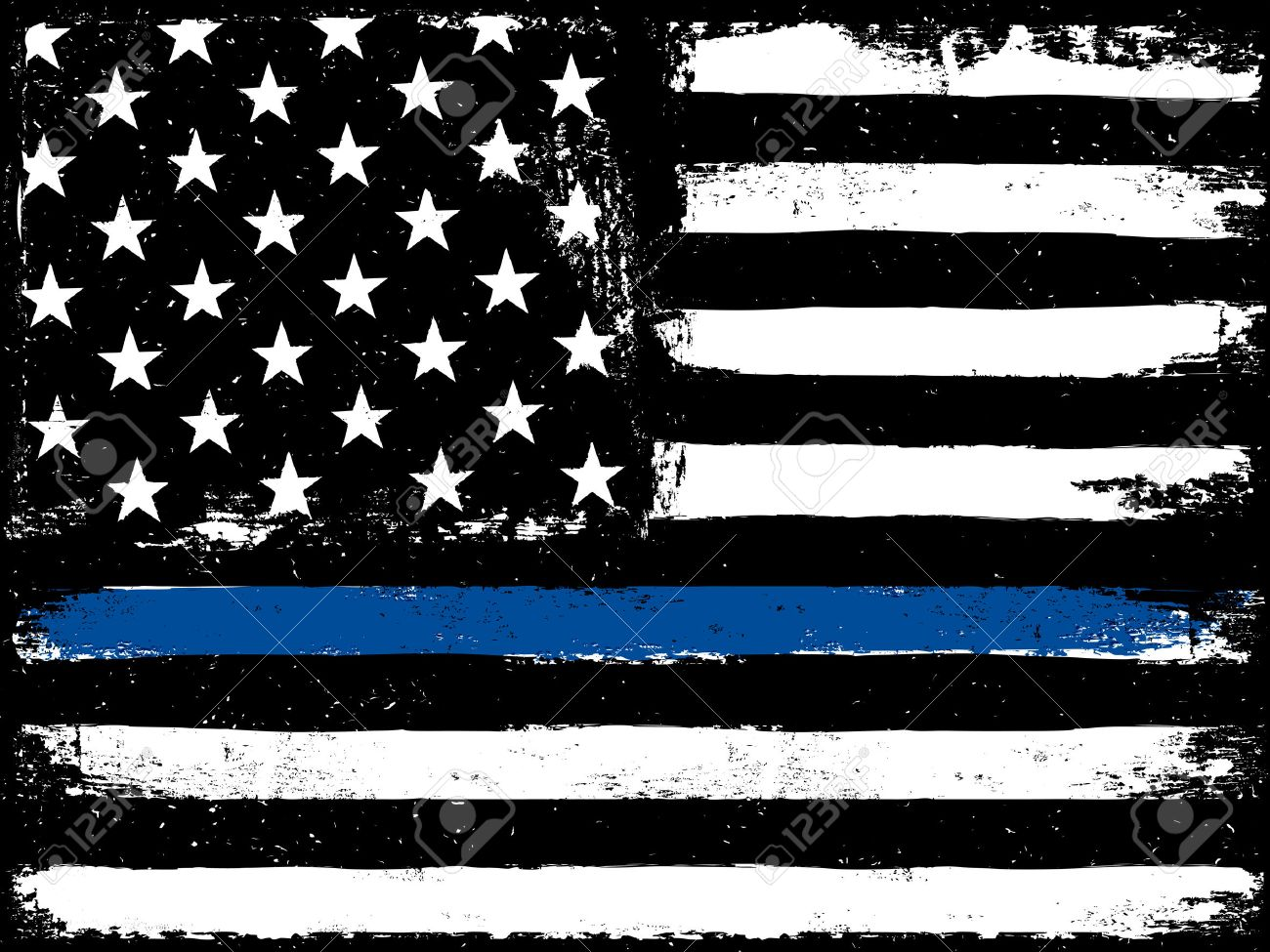 Thin Blue Line. Black Flag with Police Blue Line. - 65265854