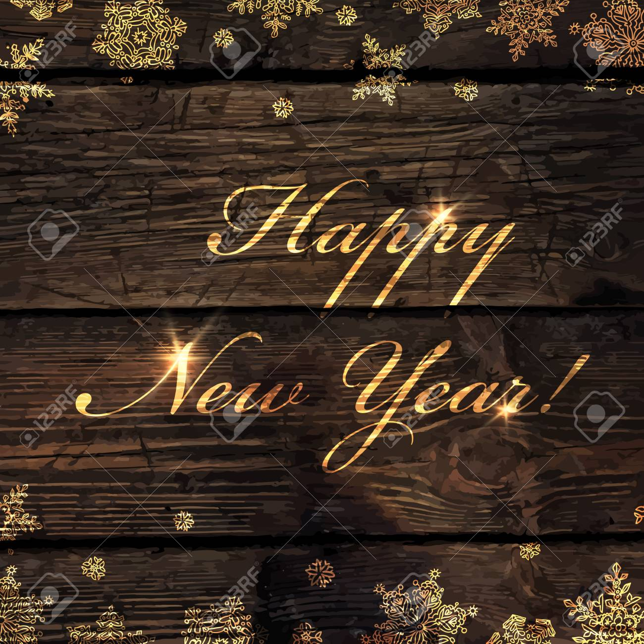 happy new year golden greeting on wooden background snowflakes border isolated by downside