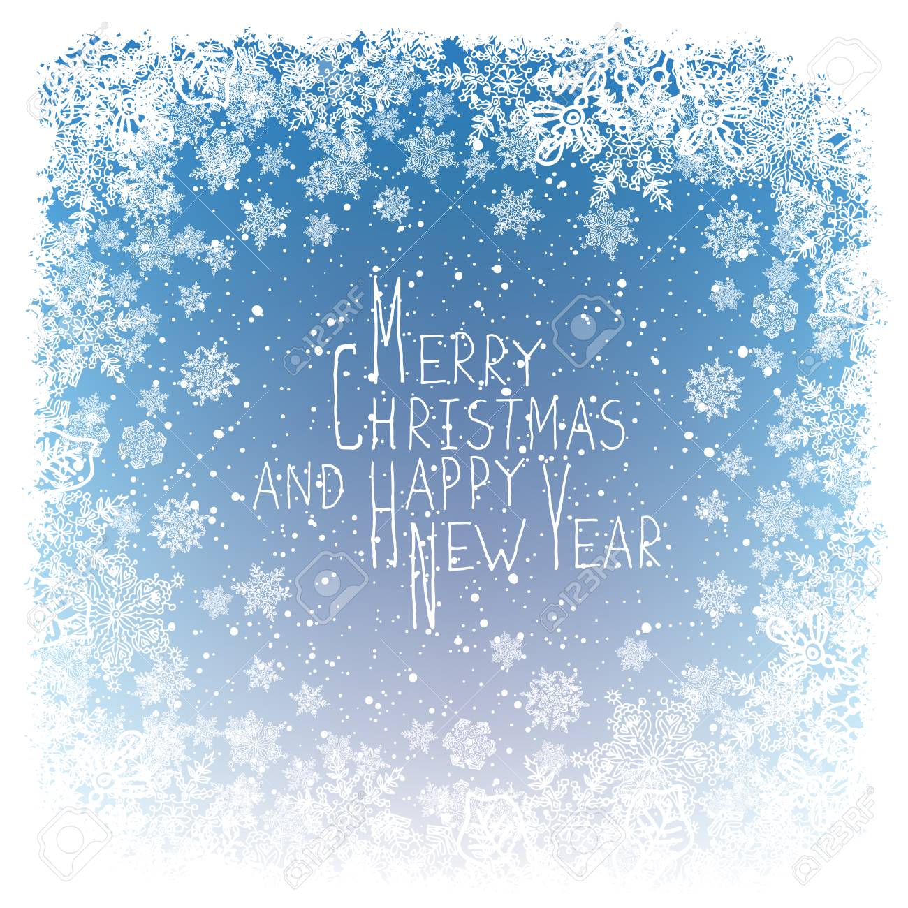 merry christmas greeting new year postcard design frost ornament border and snowflakes blue