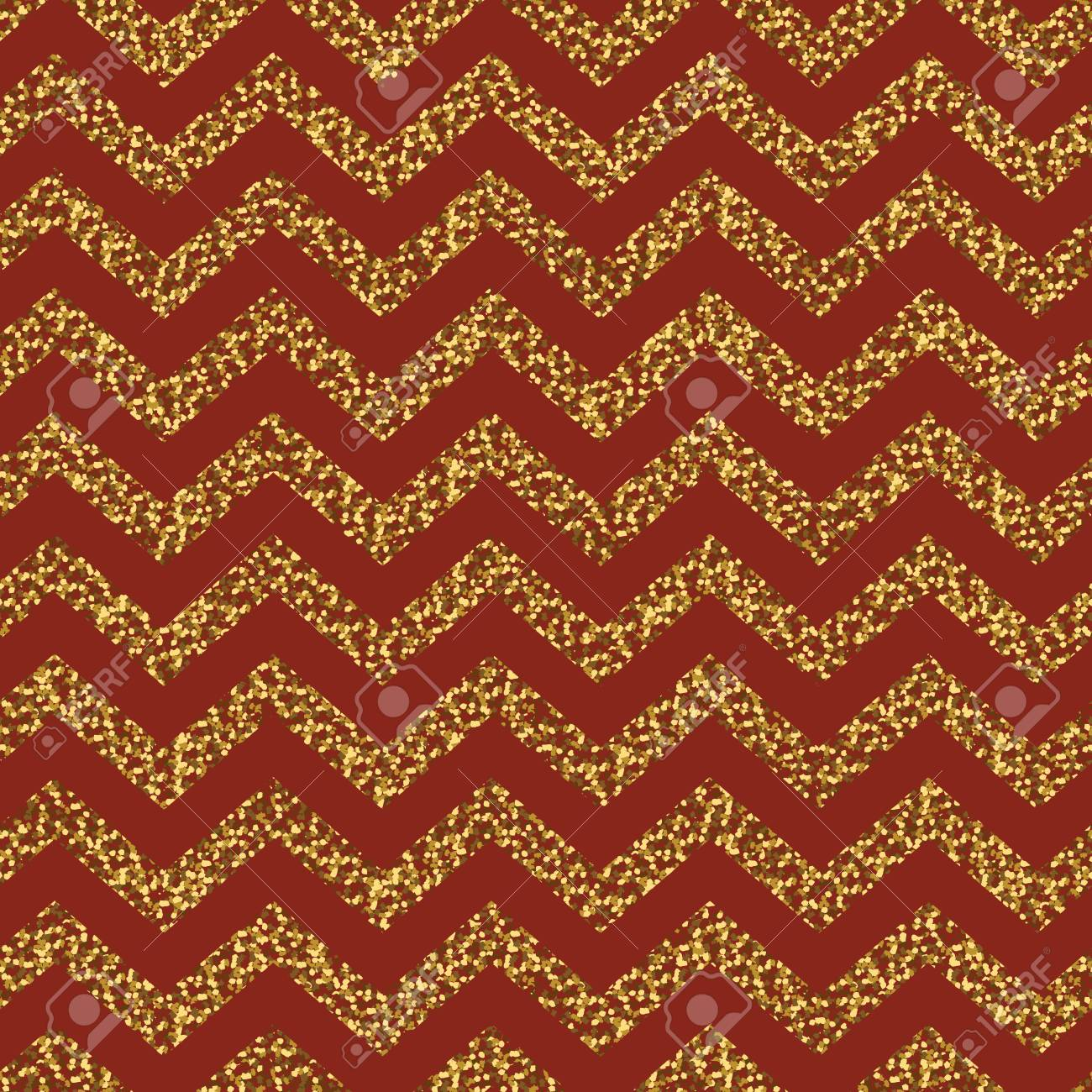 Christmas Seamless Chevron Pattern Red And Gold Glittering
