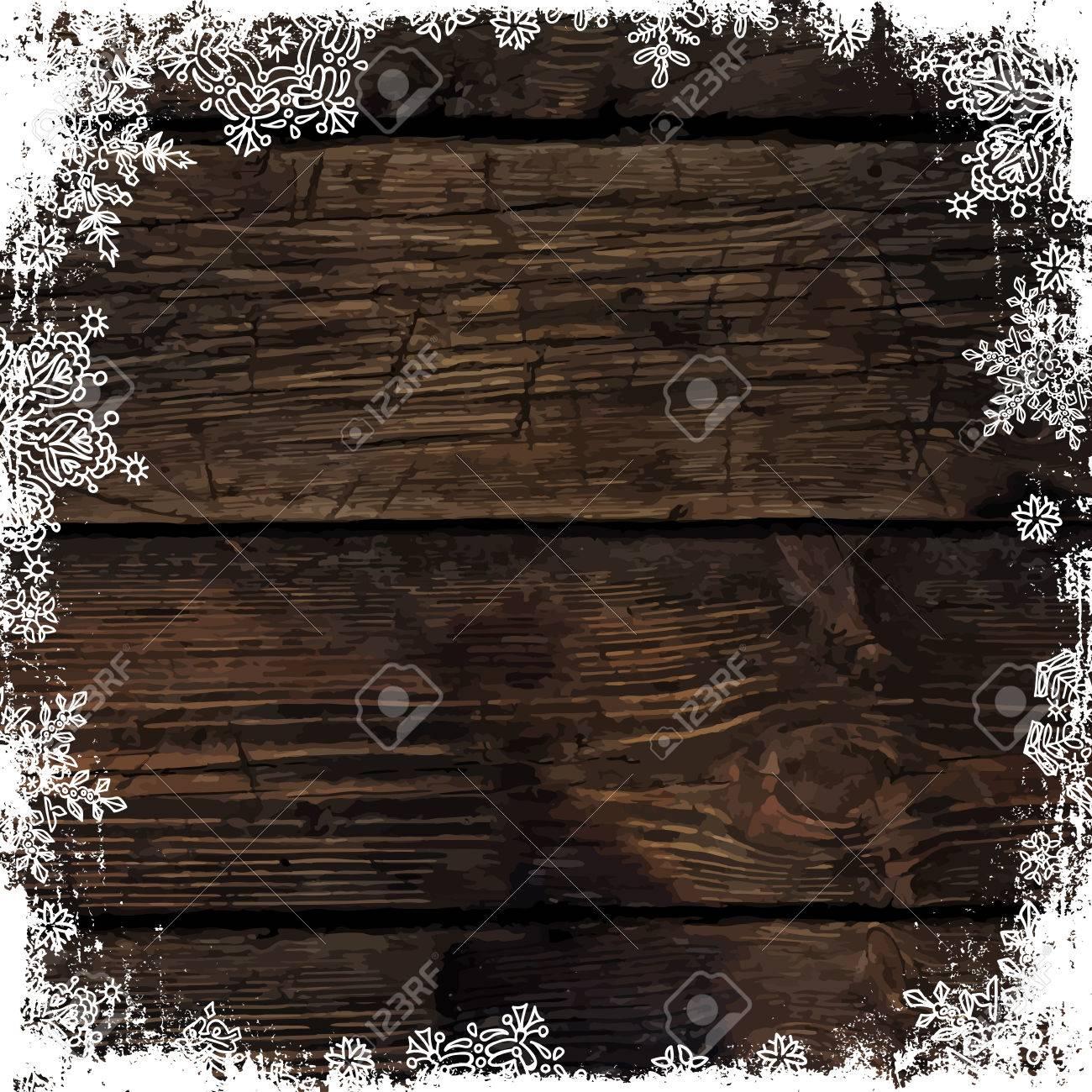 Navidad De Fondo Marrón De Madera Con Copos De Nieve. Ornamento ...