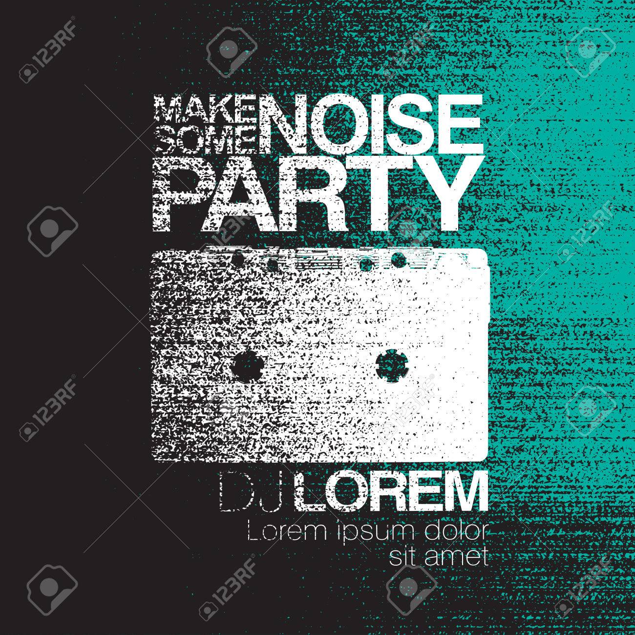 make some noise night party flyer black and white no signal