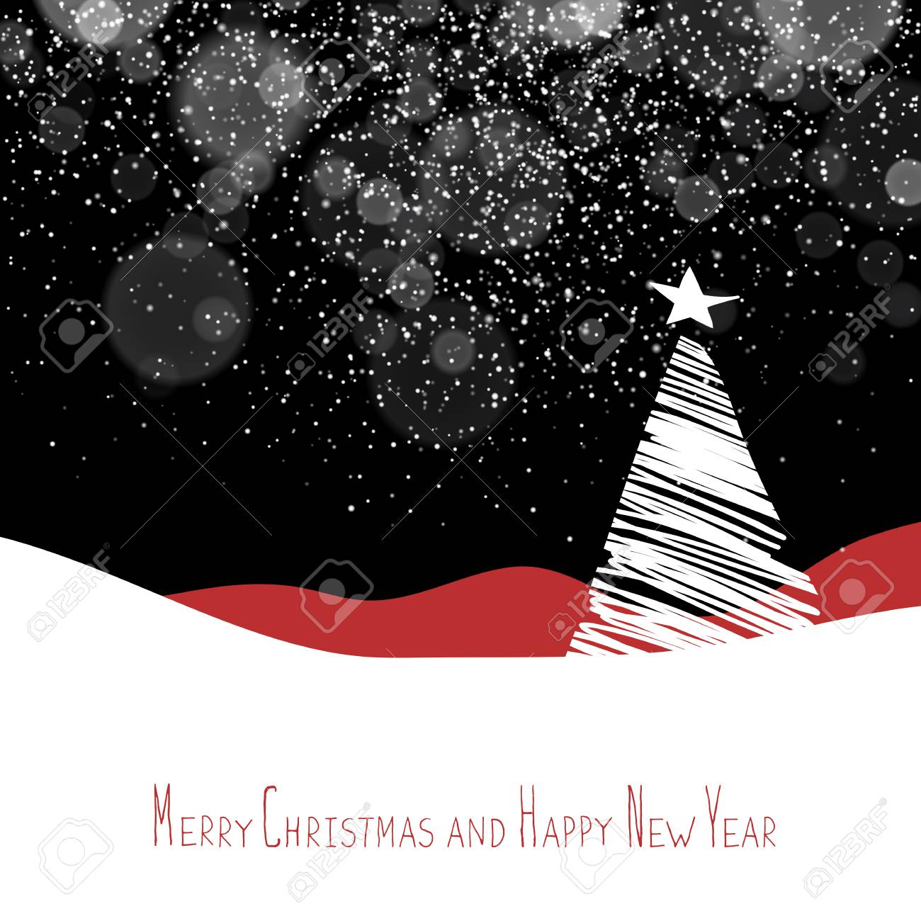 merry christmas and happy new year postcard christmas tree xmas postcard template vector