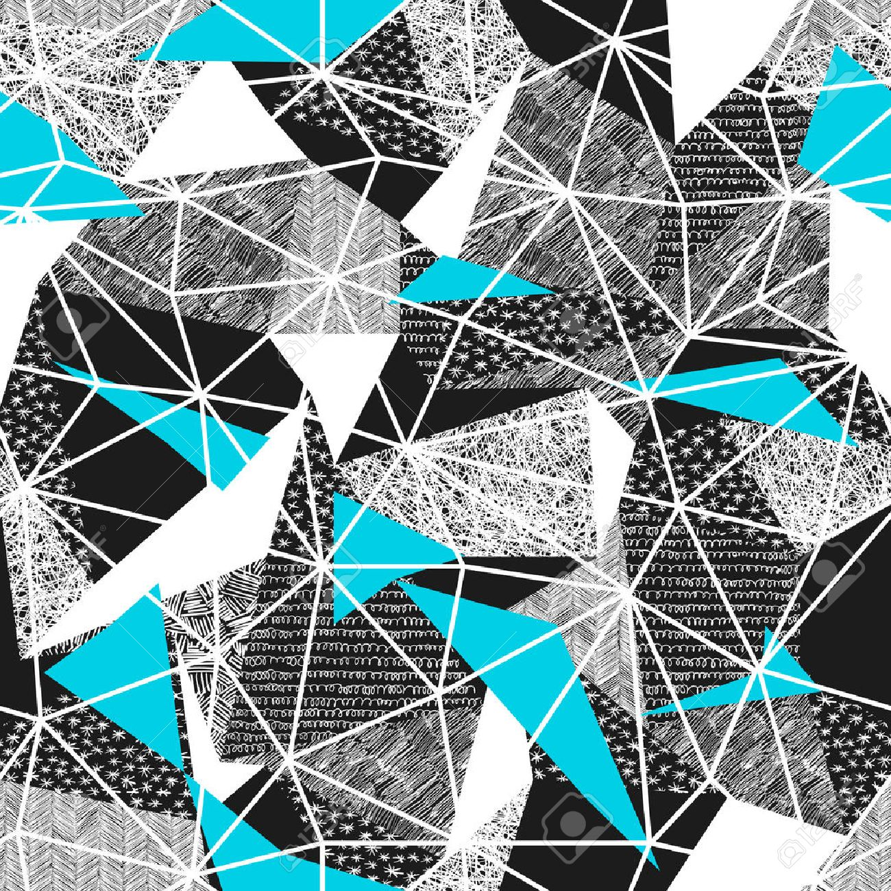 Geometric seamless pattern in retro style. Vintage background.Triangles and hand drawn patterns. Low poly seamless repeat pattern. Triangular facets. Vector pattern. Cyan Triangles Standard-Bild - 74784850