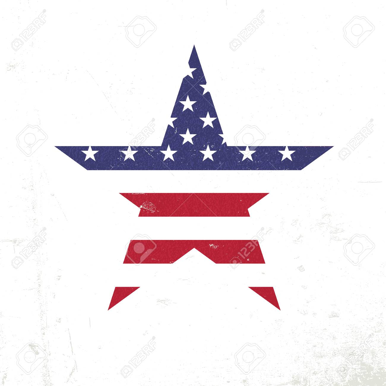 american flag in star shape patriotic design template grunge