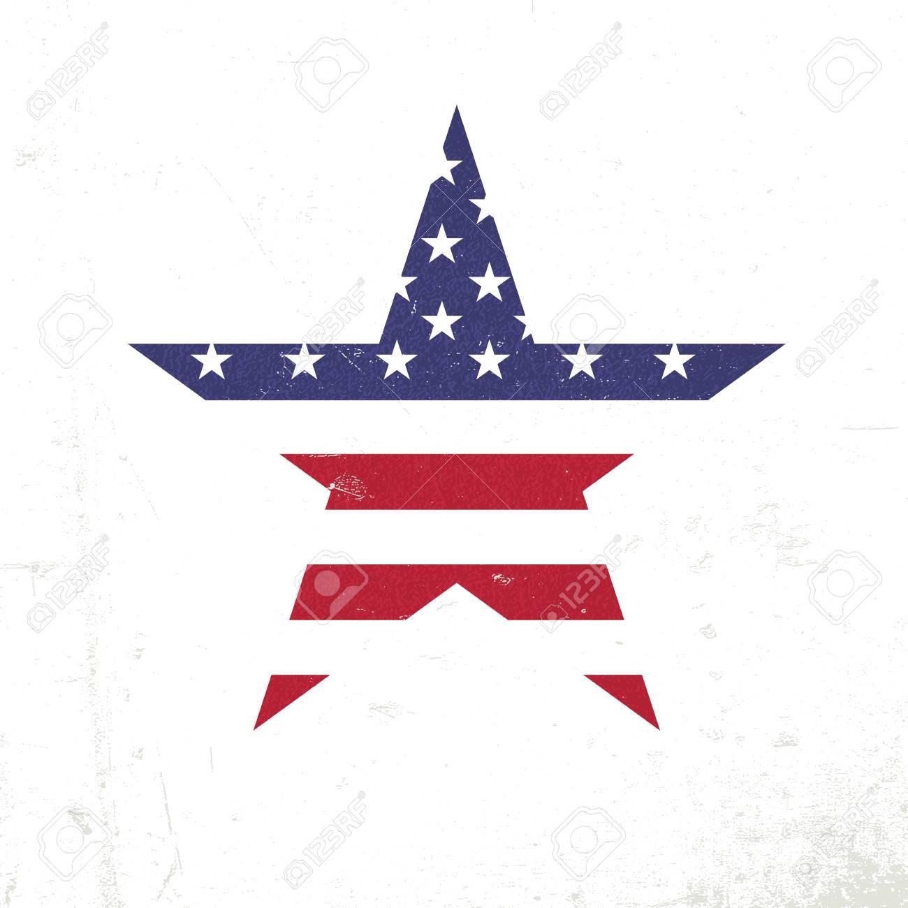 Amerikanische Flagge In Sternform. Patriotische Entwurfsvorlage ...
