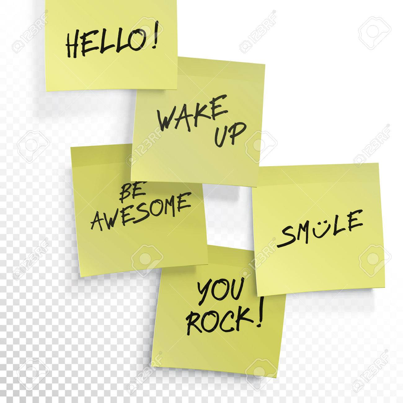 picture relating to Editable Post It Note Template titled Wake up, be astounding, o, smile, your self rock - established of inspirational..