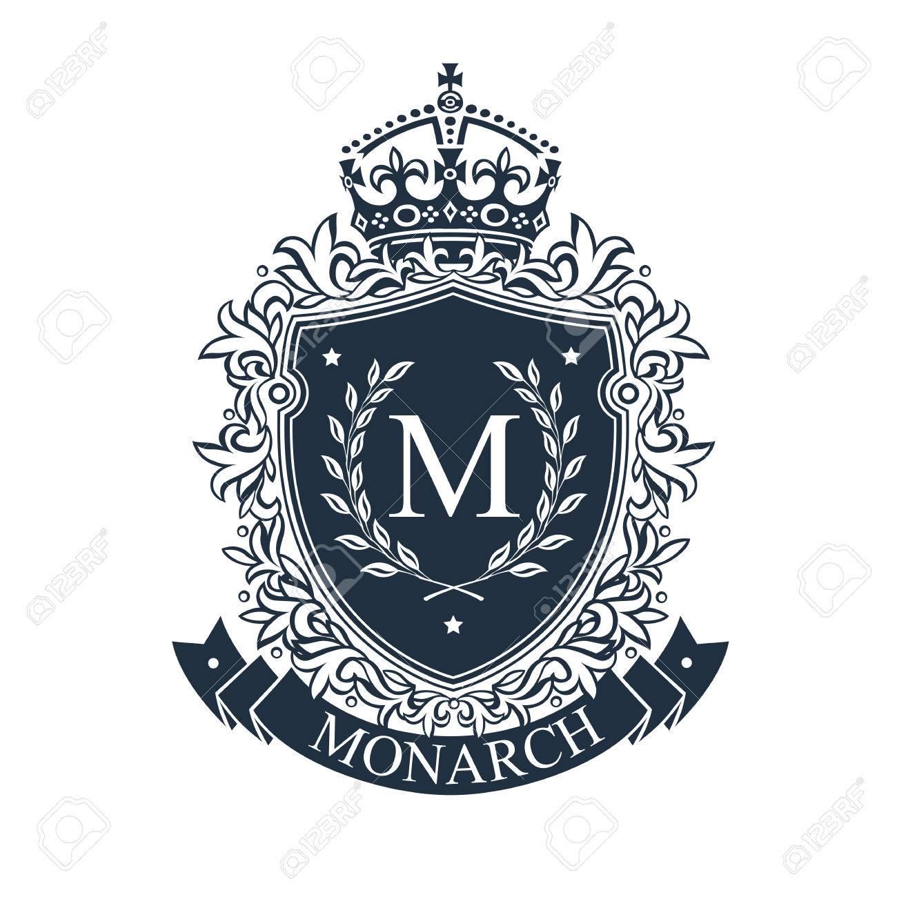 Coat of arms. Heraldic royal emblem shield with crown and laurel wreath. Heraldic vector template. - 82149759