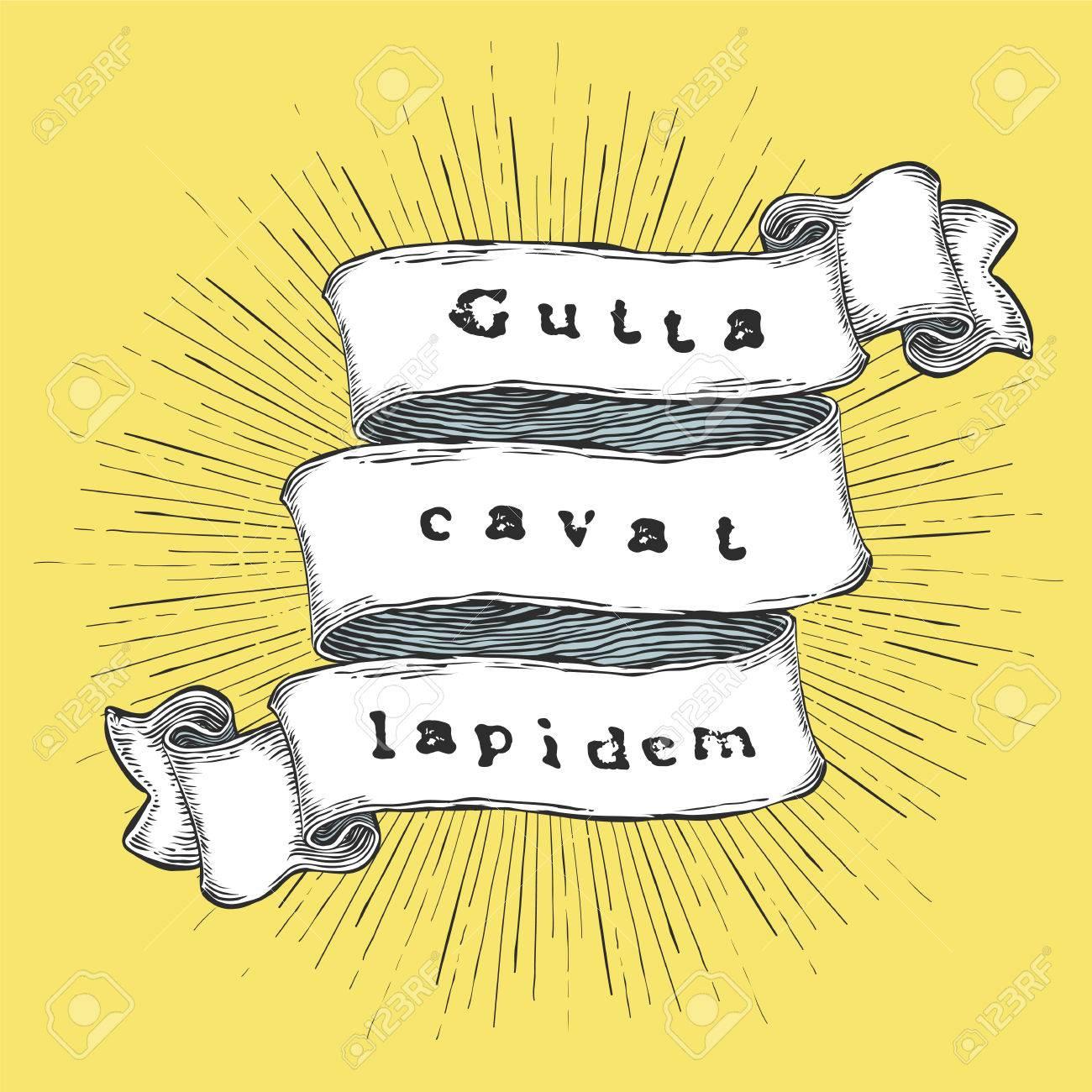 Gutta Cavat Lapidem Phrase Latine Une Goutte D Eau Creuse Une Pierre Citation Vintage Dessinés à La Main Sur Le Ruban