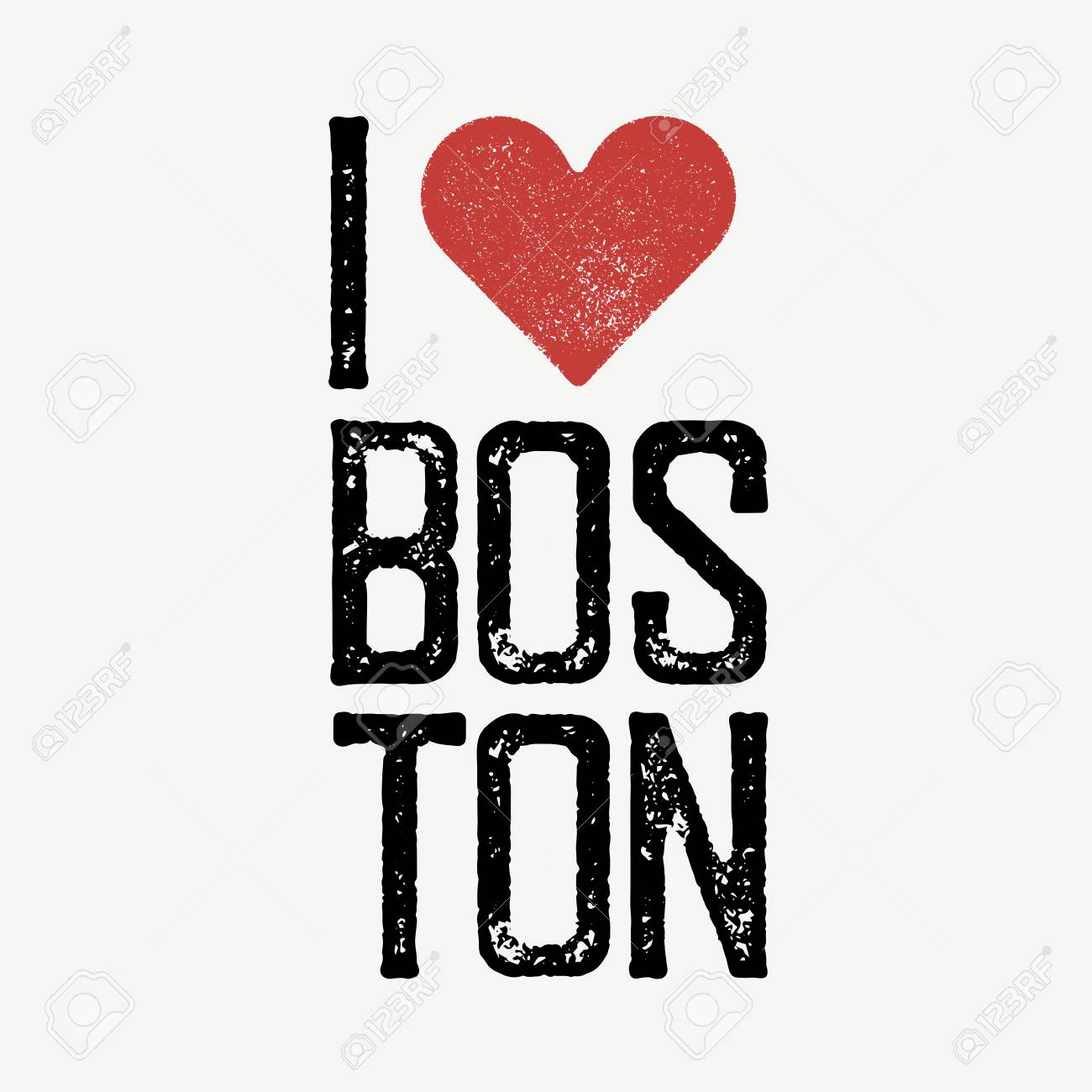 I Love Boston Text With Red Heart Tshirt Print Design Template - T shirt graphic design template