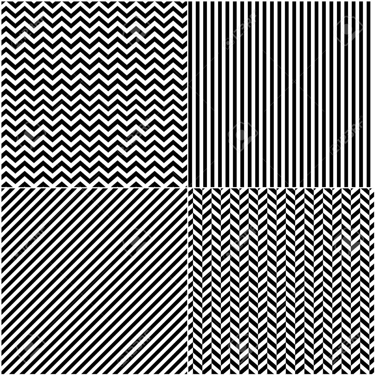 four classic black and white lines seamless patterns collection diagonal chevron zigzag and