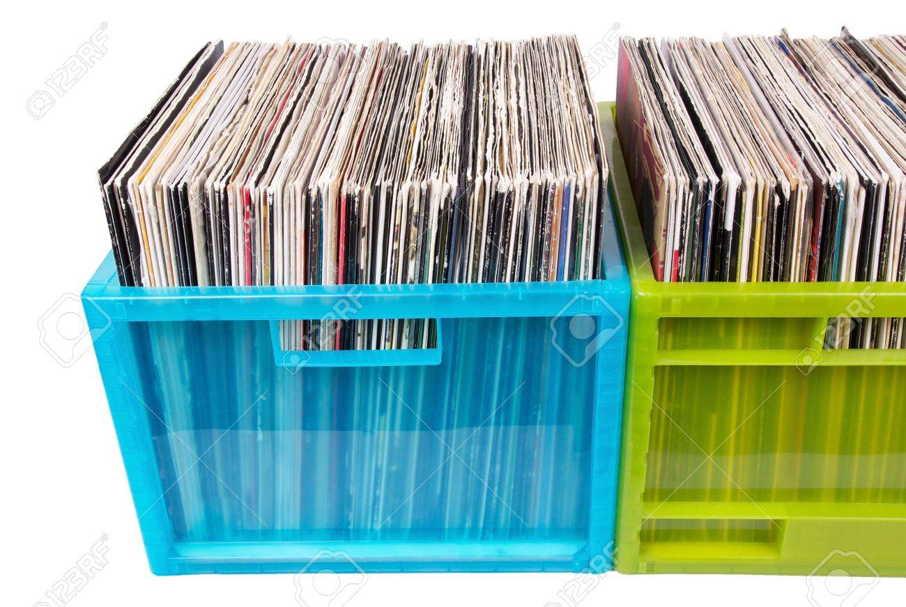 Old dj records in plastic boxes, closed-up in studio Stock Photo - 7374063