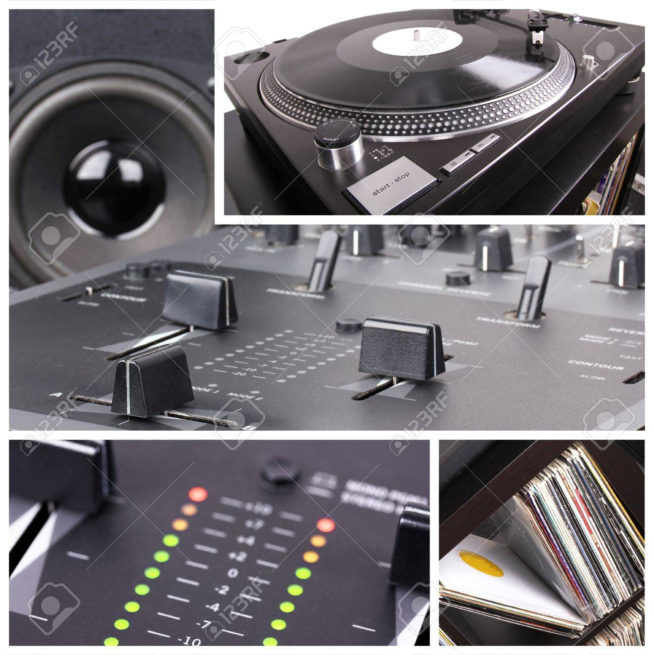 Dj equipment collage. Turntable and mixer parts Stock Photo - 8861434