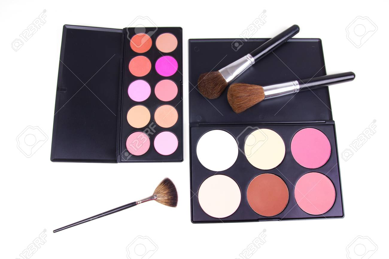 Professional eyeshadows and corrector with brushes on white Stock Photo - 9180773