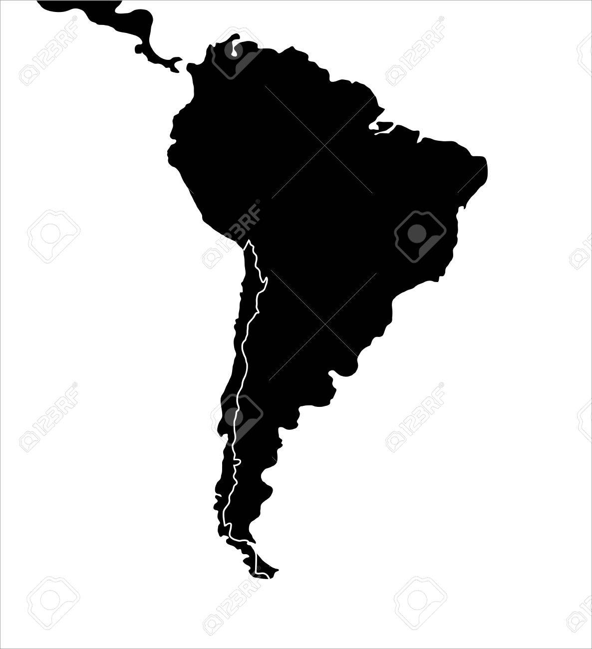 South America Map Illustration Stock Photo Picture And Royalty - South america map outline