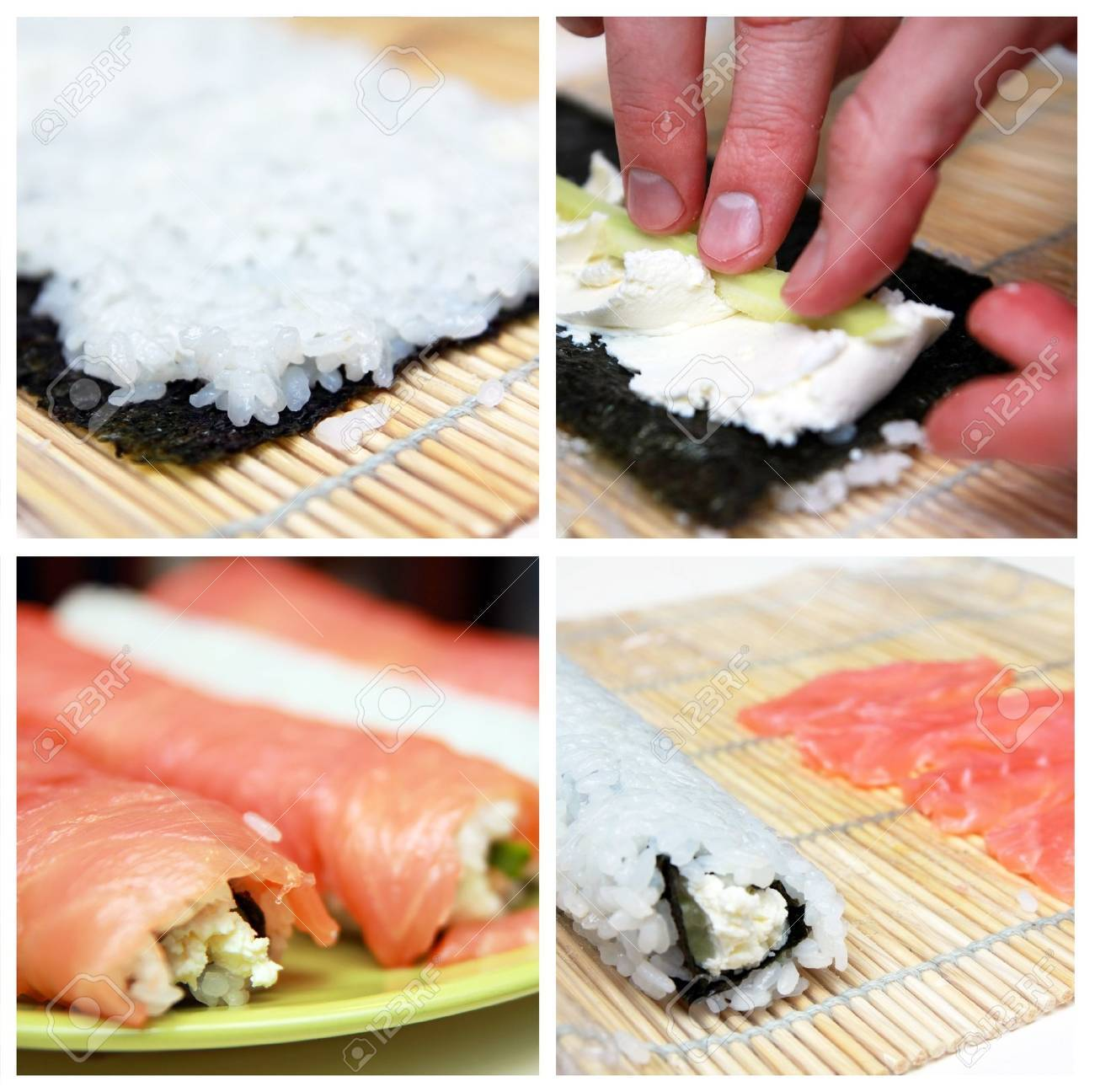 Collage of preparation  sushi roll Stock Photo - 9462503