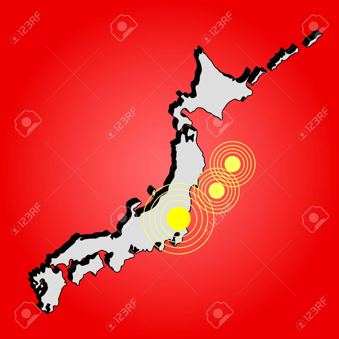 Earthquake in Japan, illustration Stock Illustration - 9484712