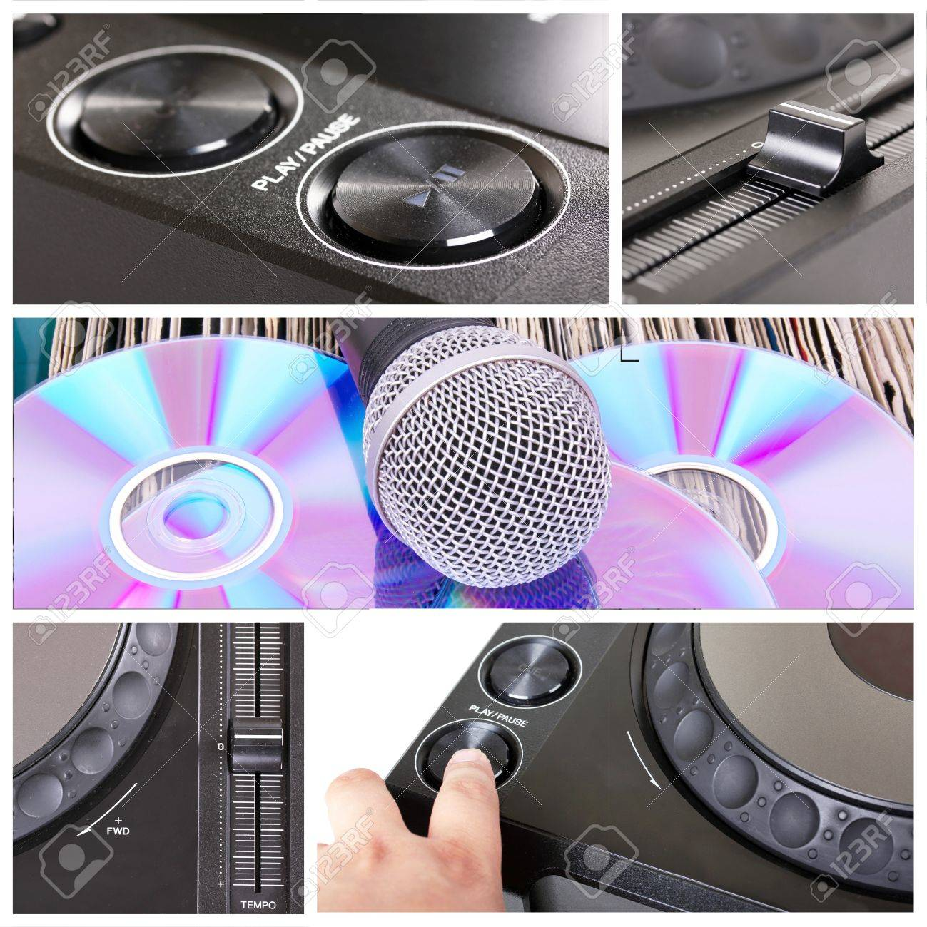 Dj tools collage with parts of cd player, microphone  and mixer Stock Photo - 9766081
