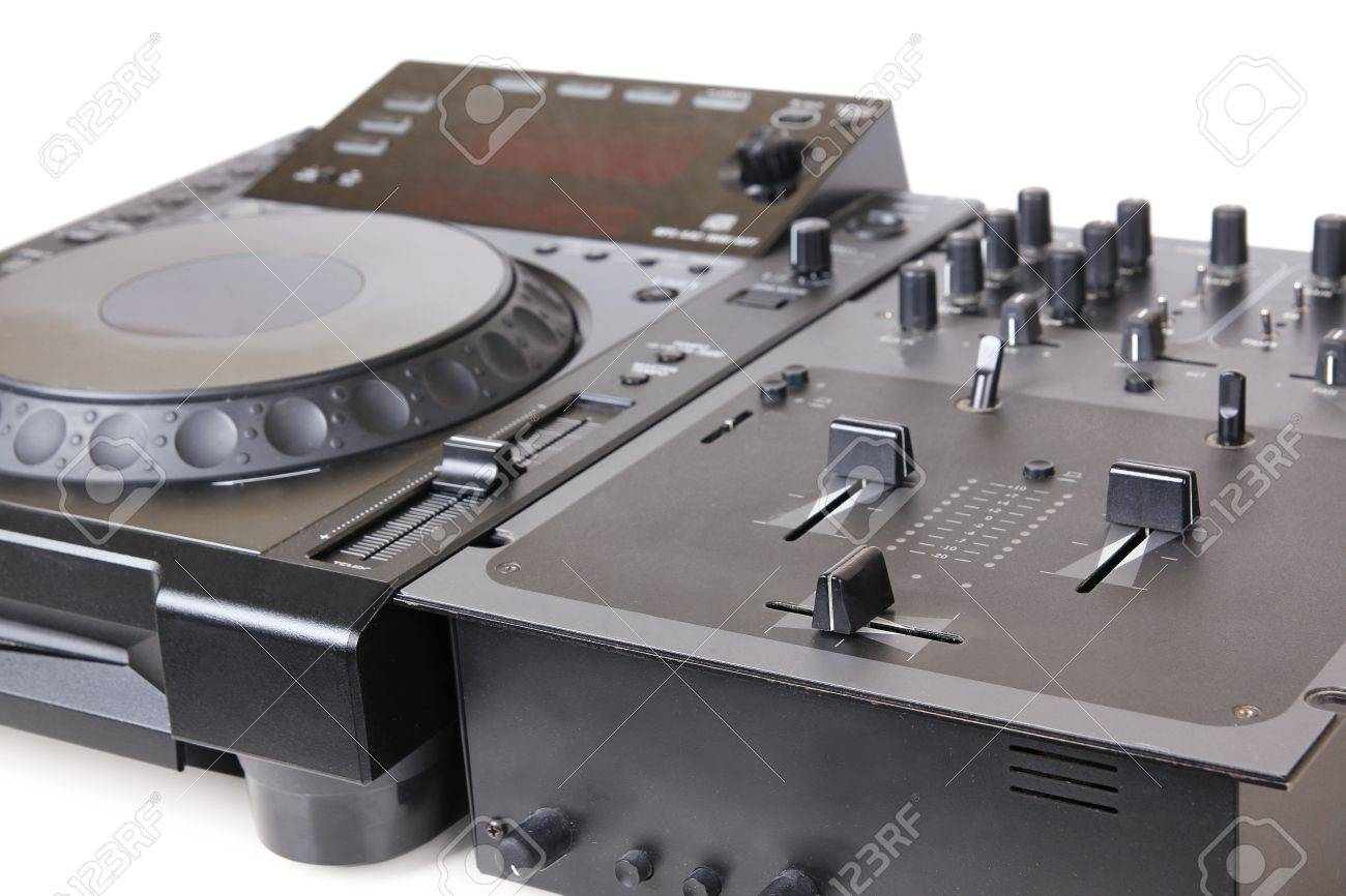 Dj cd player and mixer, closeup on white Stock Photo - 10120121