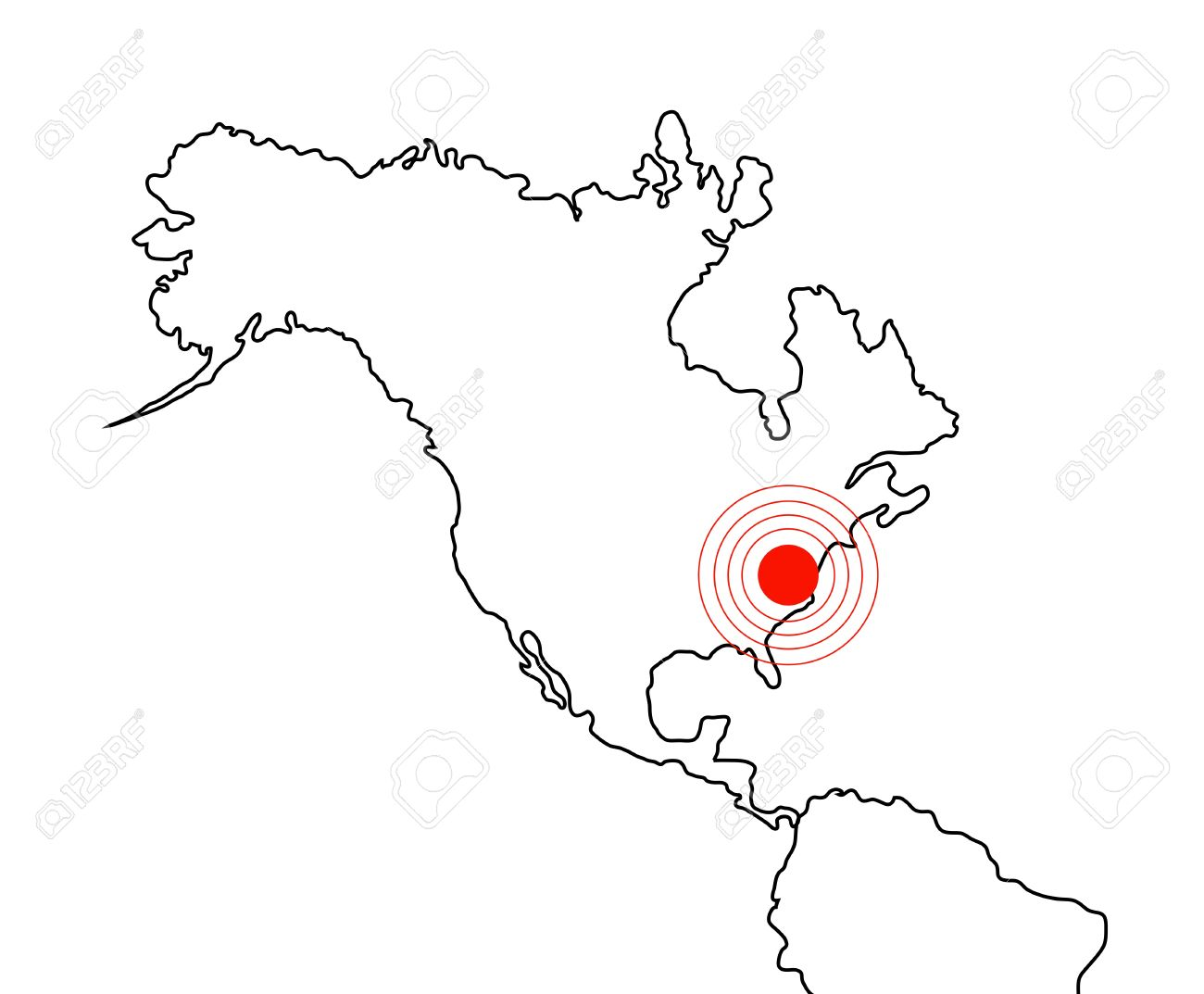 North America Earthquake Map Of Continent On White Stock Photo - North america map drawing